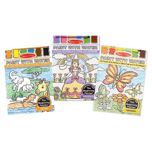 Melissa & Doug® Paint With Water Activity Books Set: Safari, Princess, and  Garden