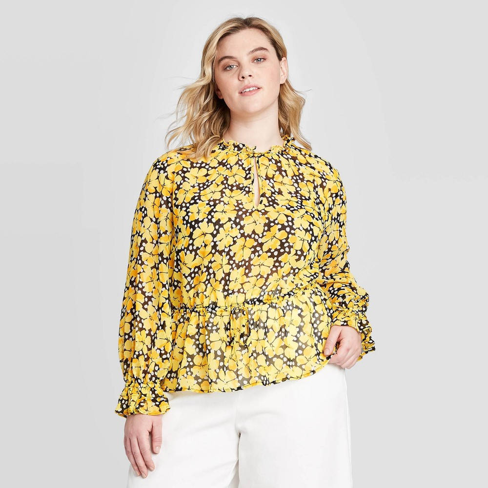 Women's Plus Size Floral Print Ruffle Long Sleeve Drawstring Blouse - Who What Wear Yellow 4X, Women's, Size: 4XL was $29.99 now $14.99 (50.0% off)