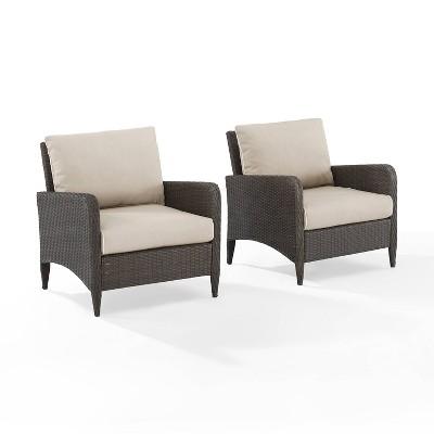 Kiawah 2pc Outdoor Wicker Chair Set - Crosley