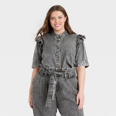 Women's Puff Elbow Sleeve Button-Down Shirt - Who What Wear™