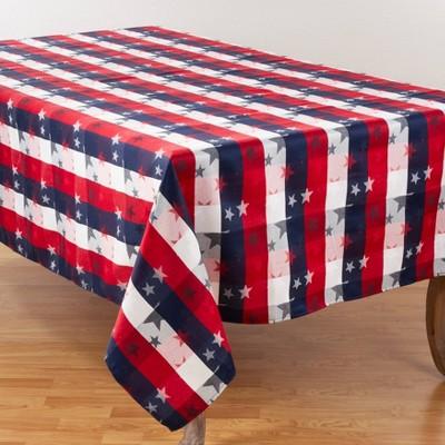 "70"" x 50"" Cotton Stars and Checkered Tablecloth - Saro Lifestyle"
