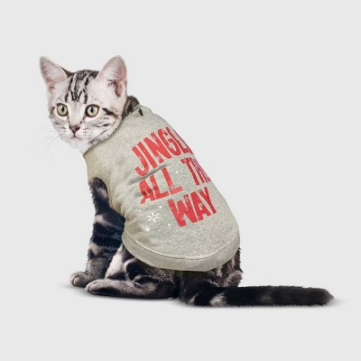 Holiday 'Jingle All The Way' Dog and Cat Sweatshirt - Gray - Wondershop™