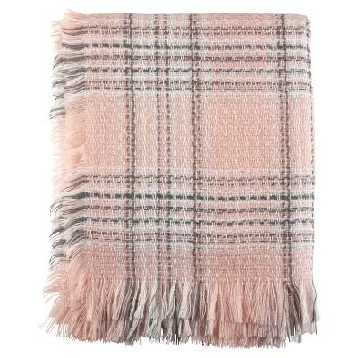 "Pink Checkered Plaid Fringe Throw Blankets (50""x60"") - Saro Lifestyle"