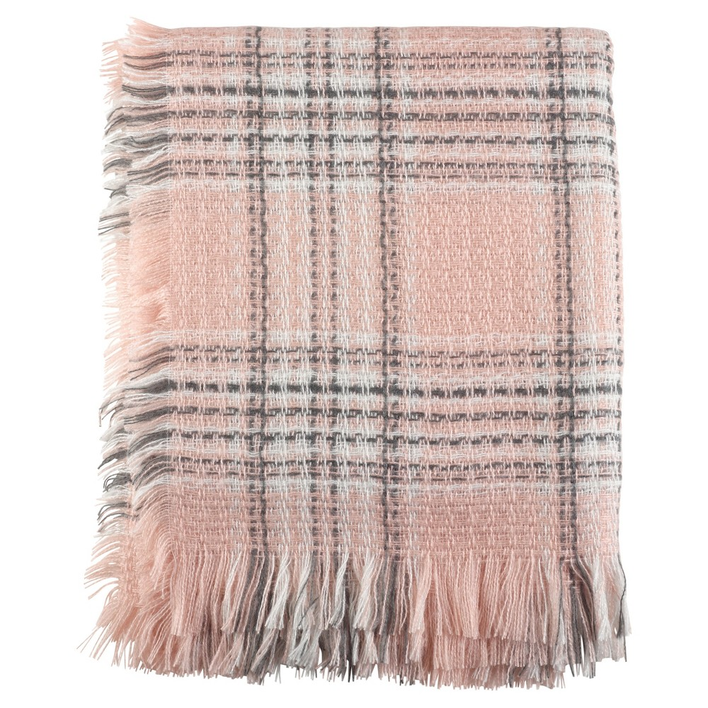 Pink Checkered Plaid Fringe Throw Blankets (50