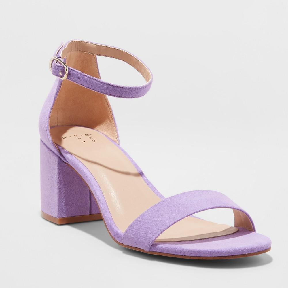 Women's Michaela Wide Width Mid Block Heel Pump Sandals - A New Day Lilac (Purple) 9W, Size: 9 Wide
