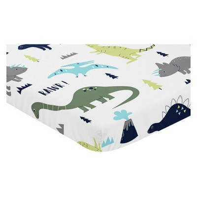 Sweet Jojo Designs Mini Fitted Crib Sheet - Dinosaurs