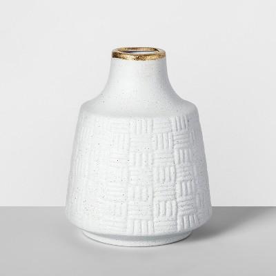 7.5  x 6  Decorative Stoneware Vase White/Gold - Opalhouse™