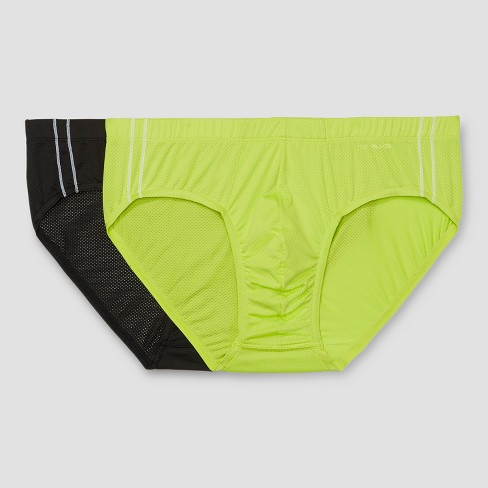 Evolve by 2(X)ist Men's Micro Mesh No Show Briefs 2pk - Black/Lime - image 1 of 5