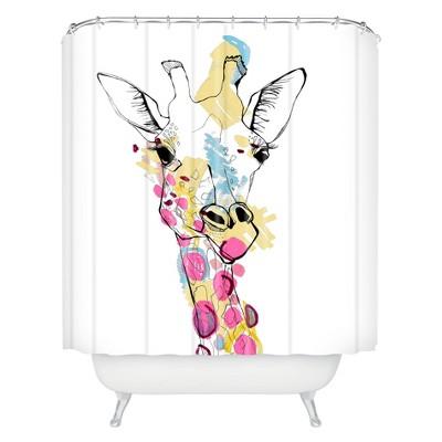 Giraffe Shower Curtain Ivory Deny Designs Target