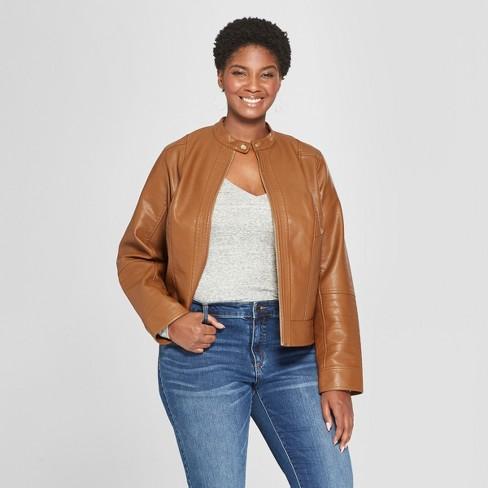b7fbc8a0419 Women s Plus Size Scuba Moto Jacket - Ava   Viv™ Brown X   Target