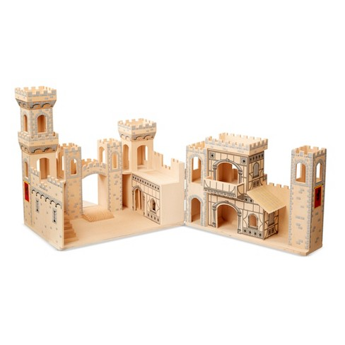Melissa Doug Deluxe Folding Medieval Wooden Castle Hinged For Compact Storage