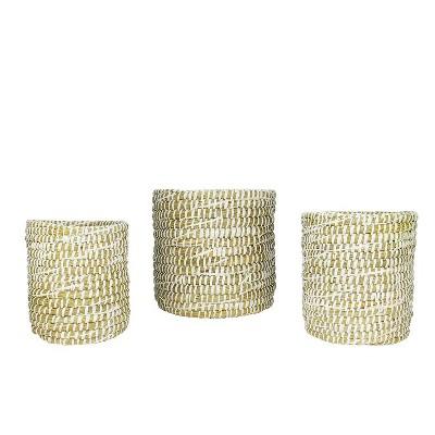 """Napa Home & Garden Set of 3 Round Rivergrass Storage Baskets 10"""" - Green/White"""