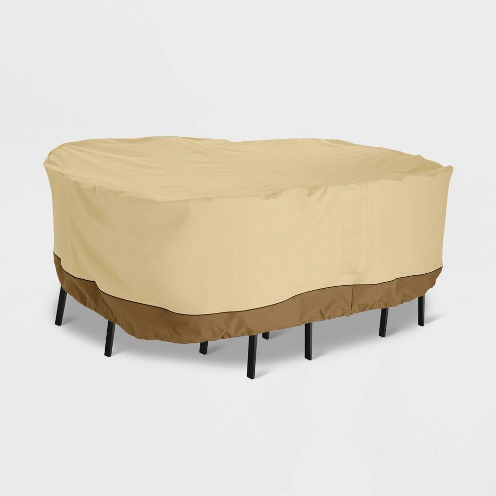Veranda Rectangular Bar Table & Chair Set Cover Light Beige - Classic Accessories
