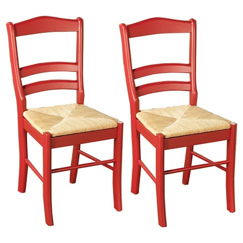 Peachy Paloma Dining Chair With Rush Seat Red Set Of 2 Tms Evergreenethics Interior Chair Design Evergreenethicsorg