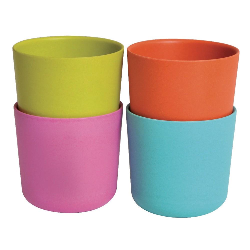 Image of Biobu by Ekobo Bambino 8oz Cups - Set of 4, Blue Pink Green