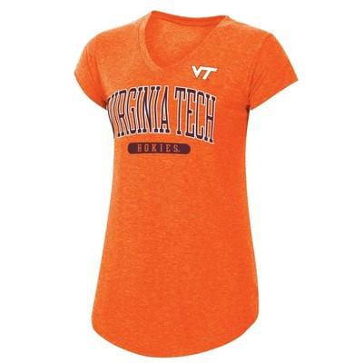 NCAA Virginia Tech Hokies Women's Short Sleeve V-Neck Orange T-Shirt