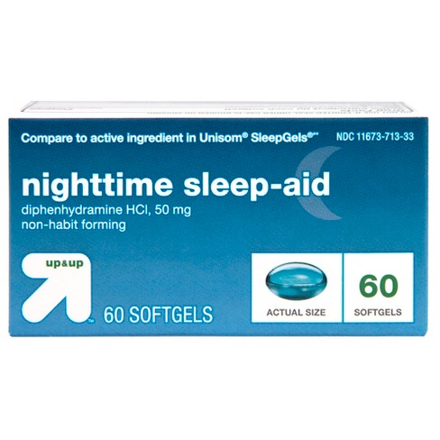 Diphenhydramine HCl Maximum Strength Nighttime Sleep Aid Softgels - 64ct - Up&Up™ (Compare to active ingredient in Unisom SleepGels) - image 1 of 5