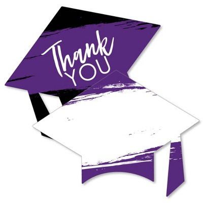 Big Dot of Happiness Purple Grad - Best is Yet to Come - Shaped Thank You Cards - Purple Grad Party Thank You Note Cards with Envelopes - Set of 12