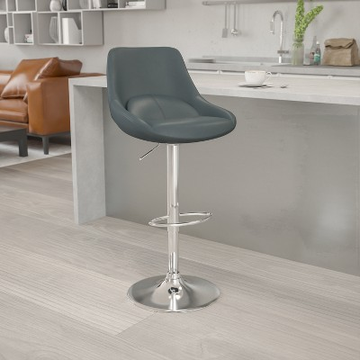Emma and Oliver Adjustable Height Gas Lift Swivel Bar Stool with Support Pillow - Dining Stool