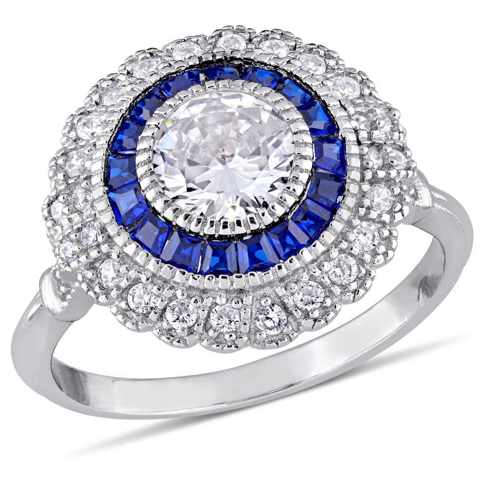 1.19 CT. T.W. Blue Spinel and 1.7 CT. T.W. Cubic Zirconia Vintage Halo Ring in Sterling Silver - (7)