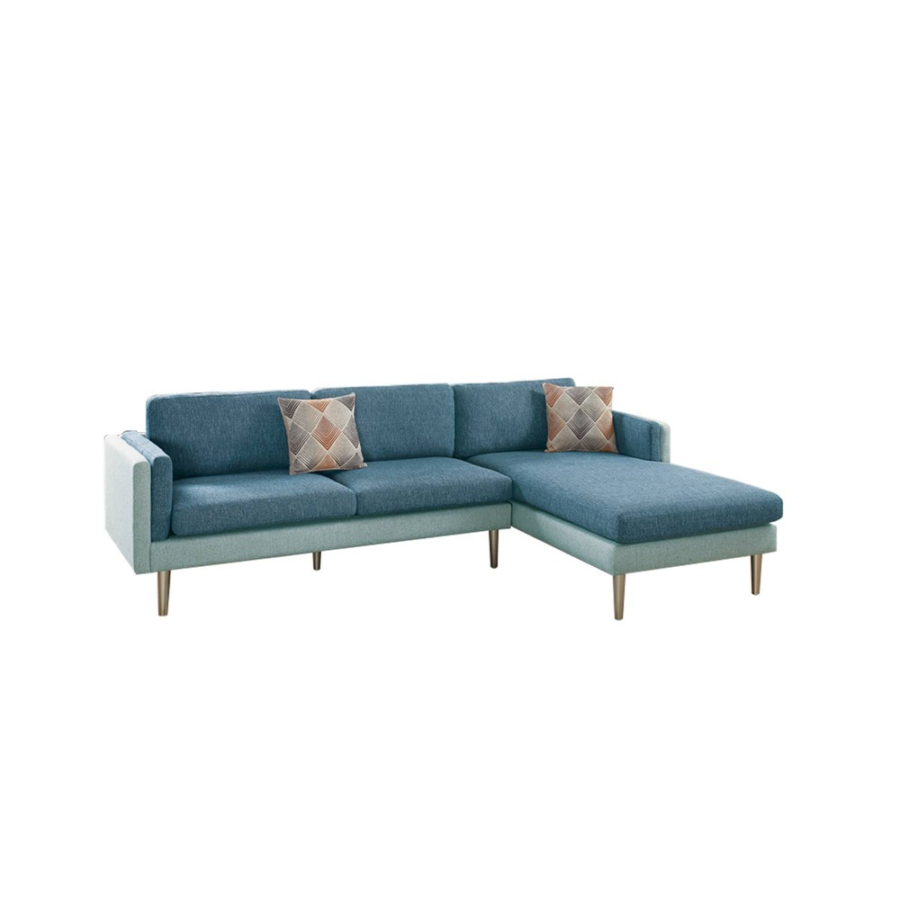 Image of 2pc Plushed Cushion Sectional Set With Accent Pillows Blue - Benzara