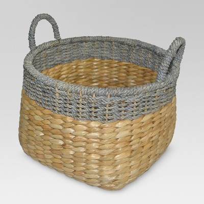 Round Seagrass Wicker Storage Basket with Gray - Threshold™