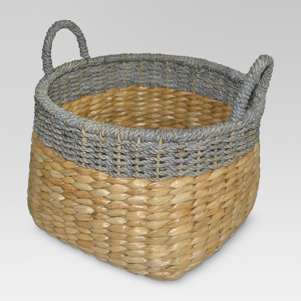 12 34 X13 25 34 Round Seagrass Wicker Storage Basket With Gray Trim Threshold 8482