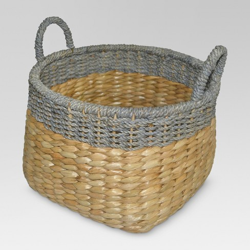 Round Seagrass Wicker Storage Basket with Gray - Threshold™ - image 1 of 4