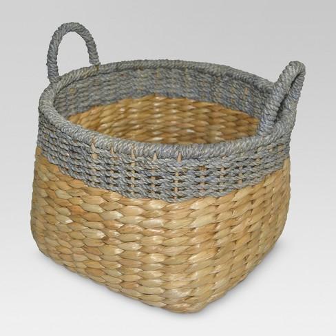 "12""x13.25"" Round Seagrass Wicker Storage Basket with Gray Trim - Threshold™ - image 1 of 4"