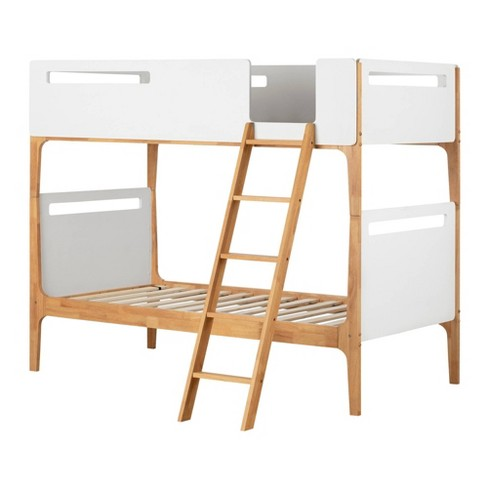 Twin Bebble Modern Bunk Beds Pure White And Exotic Light Wood South S
