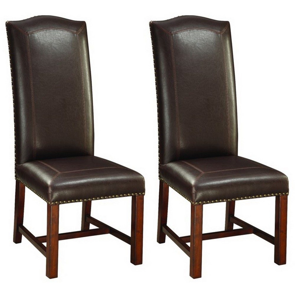 Set Of 2 Arched High Back Dining Chair Brown Cherry - Treasure Trove