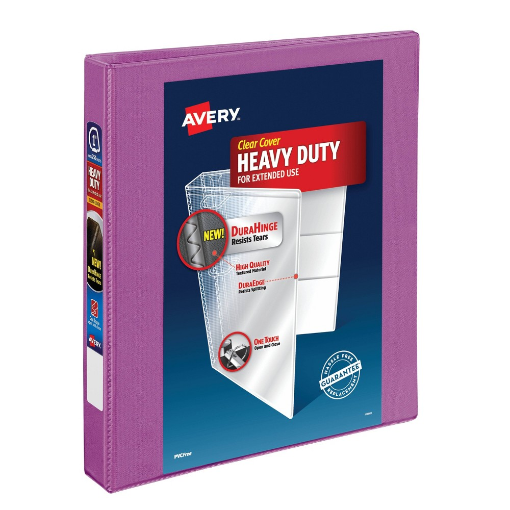 "Image of ""Avery 1"""" Heavy Duty Ring Binder with Clear Cover, 8.5"""" x 11"""" - Orchid"""