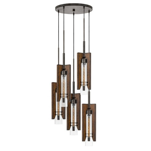 60W X 3 Almeria Wood/Glass 4 Light Pendant Fixture Ceiling Light (Edison Bulbs Not Included) - Cal Lighting - image 1 of 2