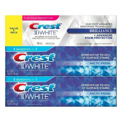 Crest 3DW White Arctic Fresh 4.8oz/2pk + 4.1oz Brilliance