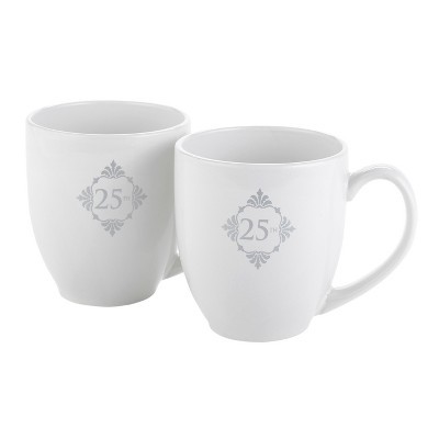 2ct Silver Anniversary Mug Set