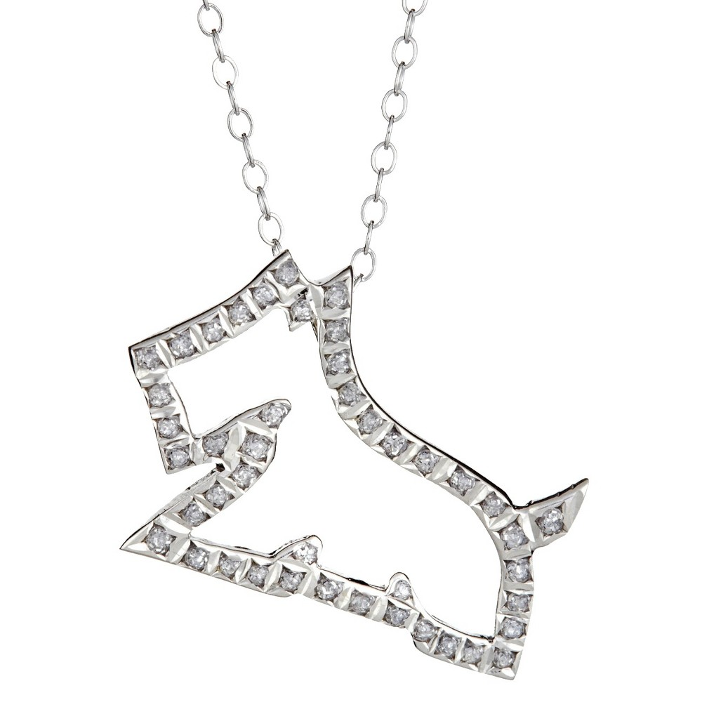 Sterling Silver Dog Pendant Necklace with Diamond Accents - White, Women's