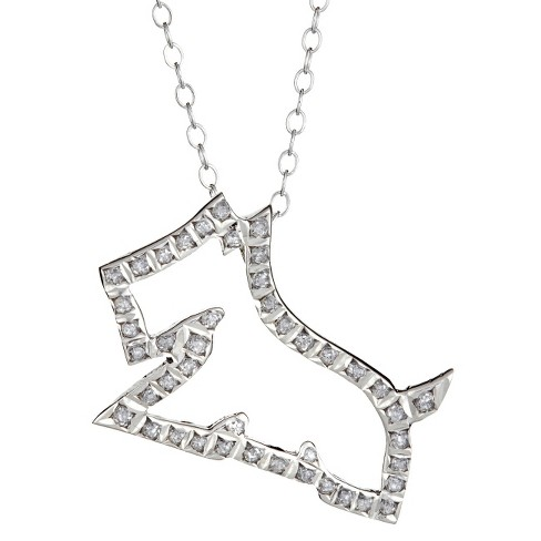 Sterling Silver Dog Pendant Necklace with Diamond Accents - White - image 1 of 1
