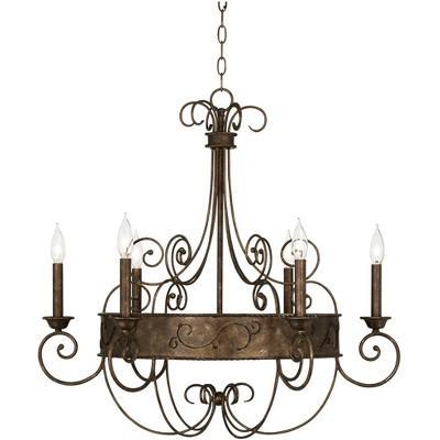 "Franklin Iron Works Rust Bronze Candelabra Chandelier 30"" Wide Rustic Metal 6-Light Fixture for Dining Room House Foyer Kitchen"