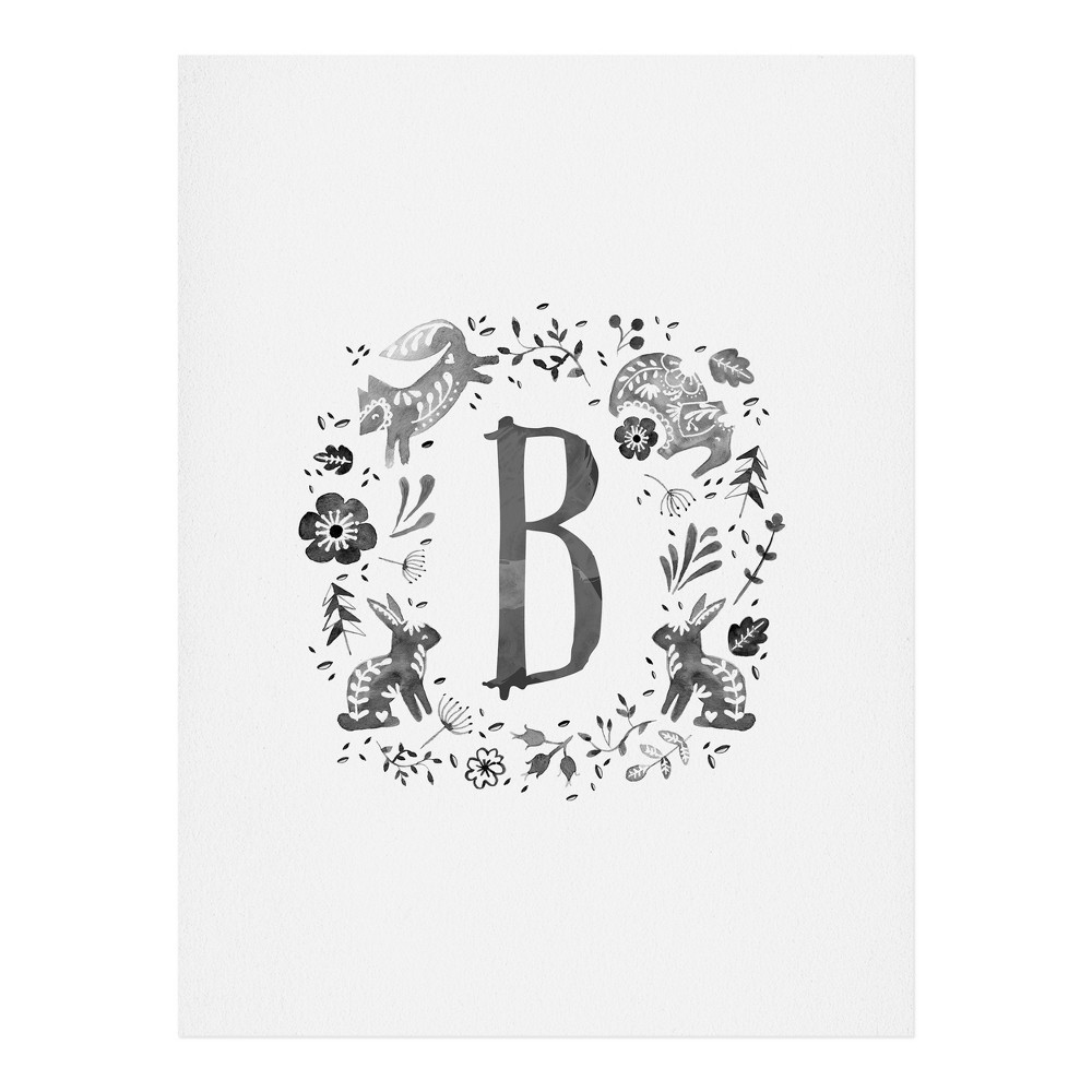 "Image of ""11""""x14"""" Wonder Forest Folky Forest Monogram Letter """"B"""" Art Print Unframed Wall Poster Gray - Deny Designs"""