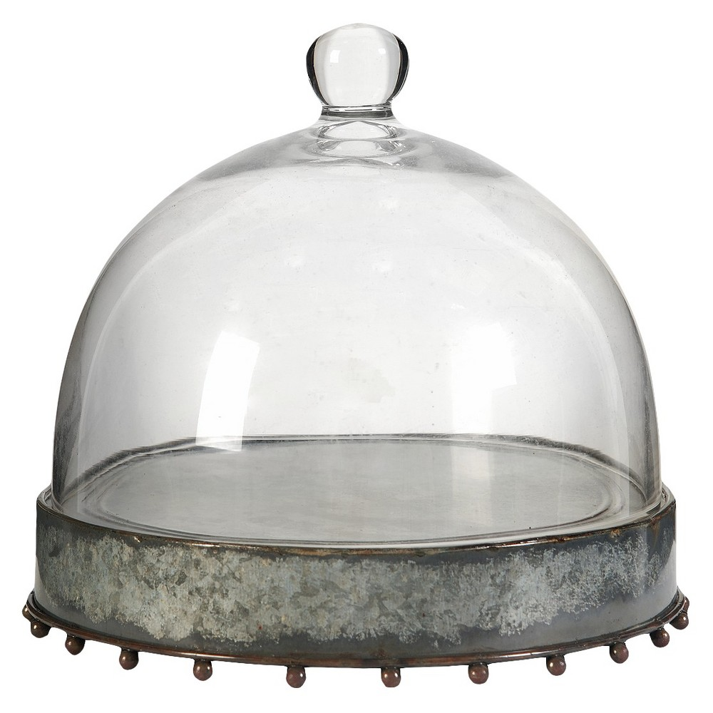 "Image of ""Metal Plate with Glass Dome - Clear (8.5""""x7.5"""")"""