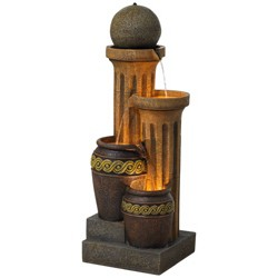 "John Timberland Outdoor Floor Water Fountain 50"" Sphere Jugs Floor Column with LED Light for Yard Garden Lawn"