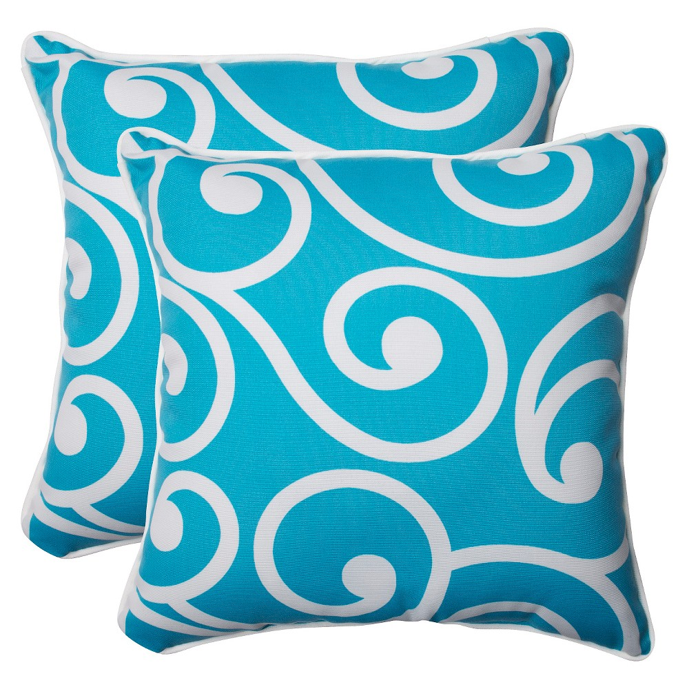 Pillow Perfect Best Outdoor 2-Piece Square Throw Pillow Set - Blue, White Blue
