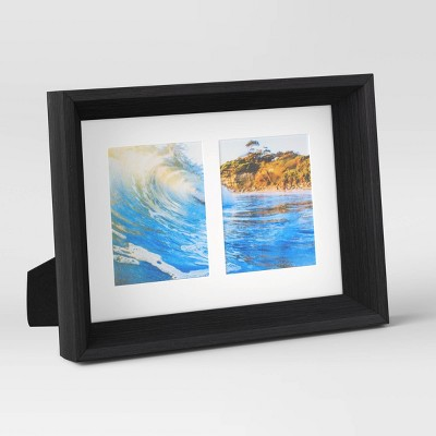 """2.5"""" x 3.5"""" Double Paper Mat Wedge Picture Frame Black/White - Room Essentials™"""