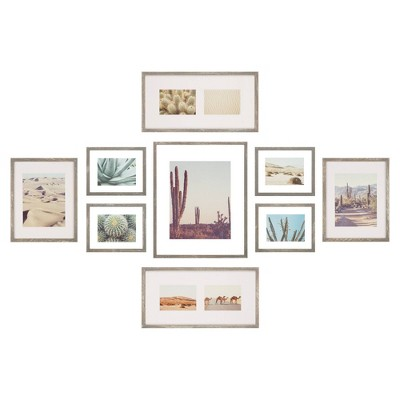 9pc Gallery Wall Floating Picture Frame Set with Hanging Templates - Gallery Perfect