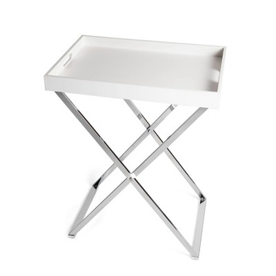 Rectangular Folding Side Table with Removable Tray White/Chrome - Danya B.