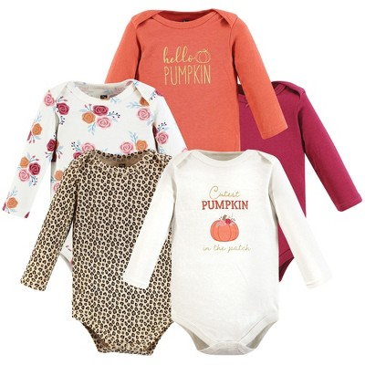 Hudson Baby Infant Girl Cotton Long-Sleeve Bodysuits, Cutest Pumpkin