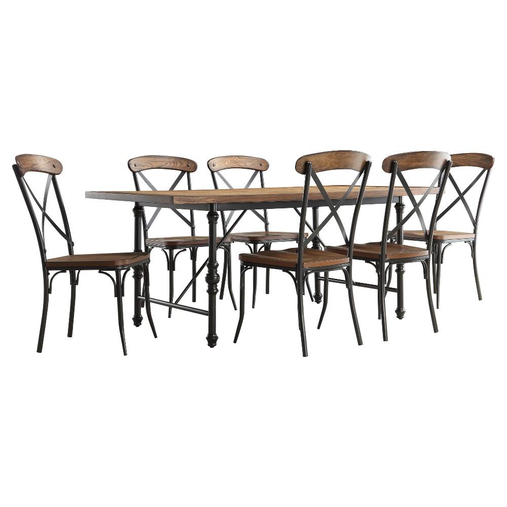 Merida 7-Piece Rustic Industrial Dining Set, Grey