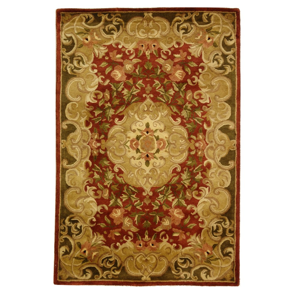Rust/Green Abstract Tufted Area Rug - (4'x6') - Safavieh, Red/Green