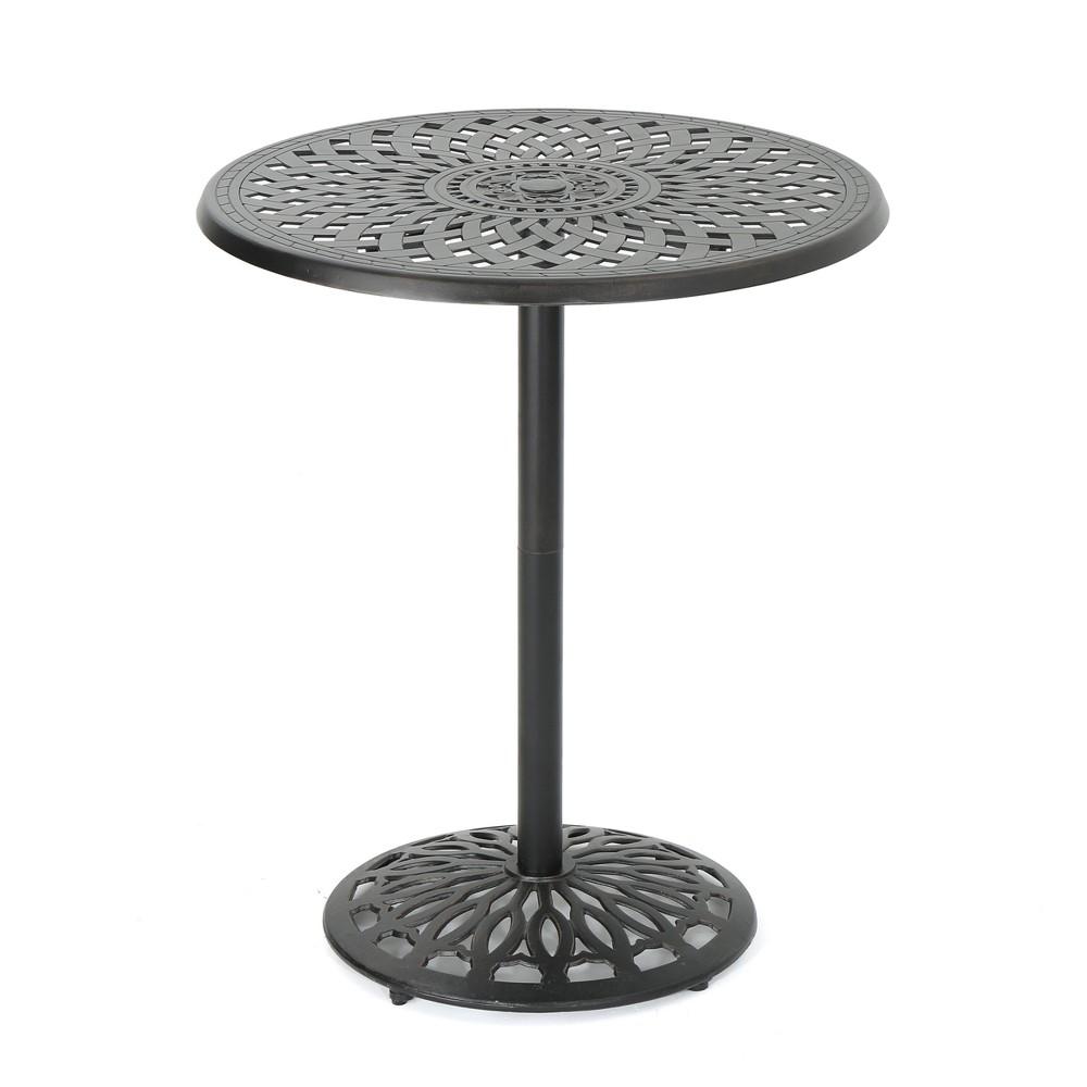 Arlana Round Cast Aluminum Bar Table - Shiny Copper - Christopher Knight Home