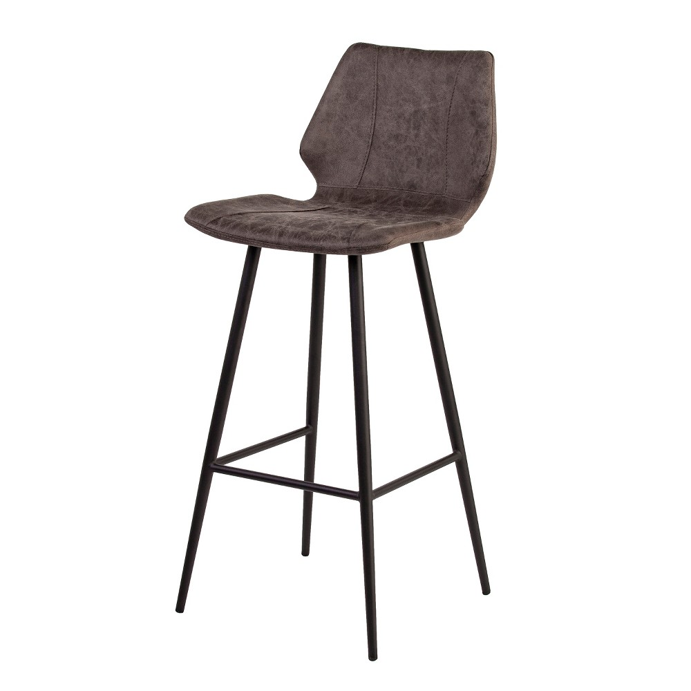 Amazing Set Of 2 Kesserill Faux Leather Barstools Chocolate Heather Dailytribune Chair Design For Home Dailytribuneorg